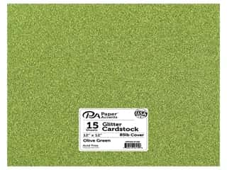 Paper Accents Glitter Cardstock 12 x 12 in. #G25 Olive Green 15 pc.