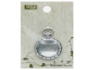 beading & jewelry making supplies: Resinate Charm Pocket Watch Silver