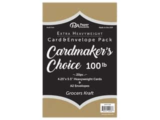 Paper Accents Cardmakers Choice 41/4 x 5 1/2 in. Blank Card & Envelopes 100 lb. Grocers Kraft 20 pc.