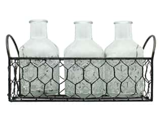 craft & hobbies: Darice Wire Basket With 3 Glass Bottles