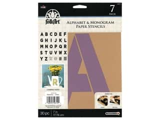 Plaid Stencil Folkart Paper Alphabet & Monogram Bold 7 in. 30 pc