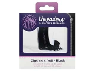 Crafter's Companion Threaders Zips On A Roll Black