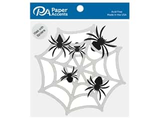 Paper Accents Glitter 6 in. Spider Web With Spiders Black & White 6 pc