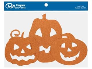 scrapbooking & paper crafts: Paper Accents Glitter Jack O' Lanterns Orange 6 pc