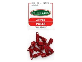 Sullivans Zipper Pulls 12 pc Red