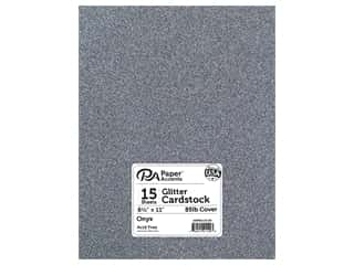 Paper Accents Glitter Cardstock 8 1/2 x 11 in. #G61 Onyx 15 pc.