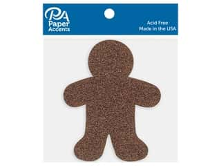 scrapbooking & paper crafts: Paper Accents Cardstock Shape Glitter Gingerbread Man Bronze 8 pc