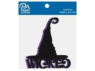 scrapbooking & paper crafts: Paper Accents Cardstock Shape Glitter Wicked Hat Black & Grape 4 pc