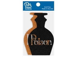 Paper Accents Glitter Shapes Poison Jar Black & Orange 4 pc