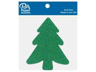 Paper Accents Cardstock Shape Glitter Tree Green 8 pc