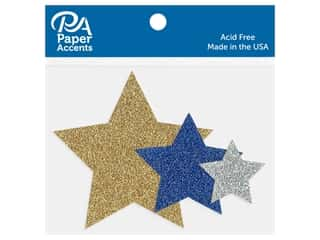 Paper Accents Glitter Shapes Stars Gold, Silver, Jewel Assorted Sizes 15 pc
