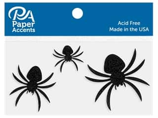 scrapbooking & paper crafts: Paper Accents Cardstock Shape Glitter Spiders Black 10  pc