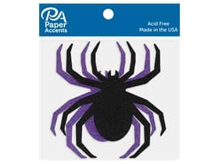 scrapbooking & paper crafts: Paper Accents Cardstock Shape Glitter Spider Black & Grape 8 pc