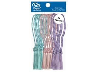 Paper Accents Tassels 24pc Aqua, Light Pink, Lilac
