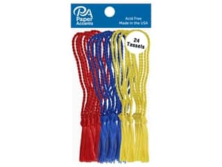 Paper Accents Tassels 24 pc Red, Royal, Maize