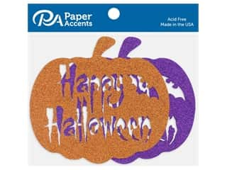 Paper Accents Glitter Shapes Happy Halloween Pumpkin Orange & Grape 4 pc
