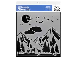 craft & hobbies: PA Essentials Stencil 12 x 12 in. Mountain Landscape