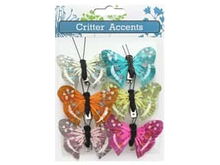 decorative floral: Sierra Pacific Feather Butterfly With Clip 2 in. Assorted 6 pc