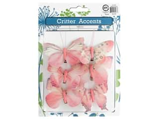 decorative bird: Sierra Pacific Feather Butterfly With Clip 3 in. Pink 6 pc