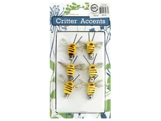 decorative bird: Sierra Pacific Bee With Clip 1.5 in.Yellow 6 pc