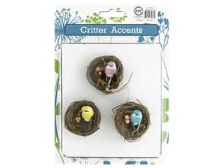 decorative bird': Sierra Pacific Bird Mini In Nest 2 in. Assorted 3 pc