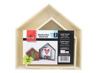 Plaid Wood Shadowbox Houses 2 pc