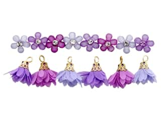 craft & hobbies: Jesse James Embellishments Flower Combo Lilac