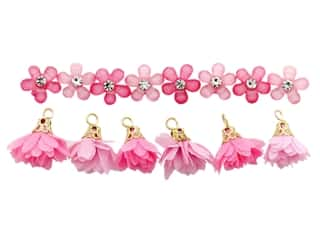 novelties: Jesse James Embellishments Flower Combo Pink