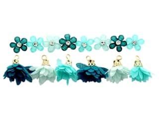craft & hobbies: Jesse James Embellishments - Flower Combo Turquoise