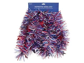 novelties: Darice Garland Tinsel Patriotic 9 ft