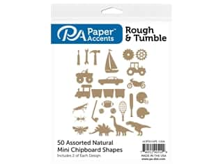 Paper Accents Chip Shape Assorted Rough & Tumble 50 pc Natural