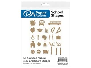 scrapbooking & paper crafts: Paper Accents Chip Shape Assorted School 50 pc Natural