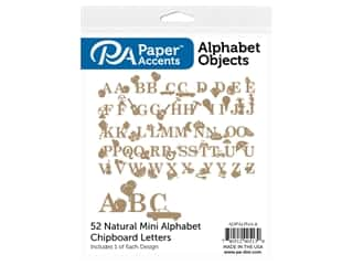 Paper Accents Chip Shape Alphabet Objects 52 pc Natural