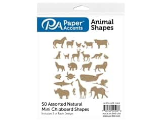 Paper Accents Chip Shape Assorted Animal 50 pc Natural