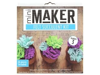 Leisure Arts Mini Maker Kit Felt Succulent Blue