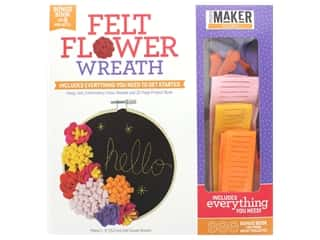 Leisure Arts Mini Maker Kit Felt Flower Wreath Hoop