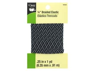 Dritz Braided Elastic 1/4 in. x 1 yd. Zigzag Black Multi