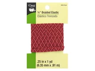 braided elastic: Dritz Braided Elastic 1/4 in. x 1 yd. Zigzag Red Multi