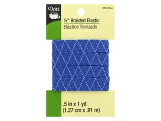 Dritz Braided Elastic 1/2 in. x 1 yd. Zigzag Blue Multi