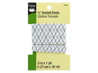 braided elastic: Dritz Braided Elastic 1/2 in. x 1 yd. Zigzag White Multi