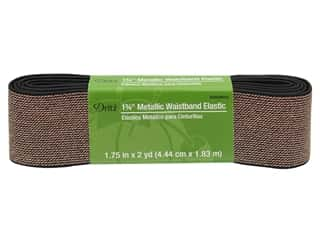 elastic: Dritz Metallic Waistband Elastic 1 3/4 in. x 2 yd. Black & Rose Gold