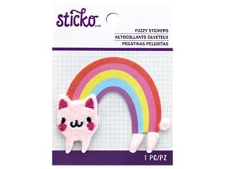 EK Sticko Stickers Fuzzy Rainbow Cat