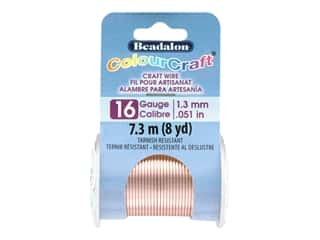 craft & hobbies: Beadalon ColourCraft Tarnish Resistant Copper Wire Tarnish Resistant 16 ga Rose Gold 8 yd