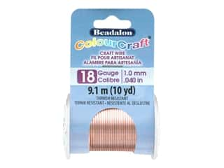 beading & jewelry making supplies: Beadalon ColourCraft Tarnish Resistant Copper Wire Tarnish Resistant 18 ga Rose Gold 10 yd