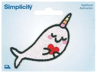 Simplicity Applique Iron On Sparkly Narwhal