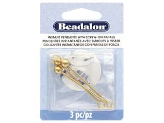 beading & jewelry making supplies: Beadalon Findings Instant Pendant Round 36.6 mmx 1.6 mm Gold