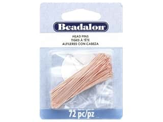 Beadalon Head Pins 50 mm Rose Gold 72 pc (3 pieces)