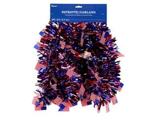 novelties: Darice Patriotic Tri-Color Tinsel Garland with Flag Accents 9 ft.