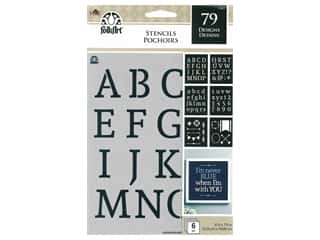 Plaid Stencil FolkArt 6 in. x 7.75 in. Value Pack Alpha Serif 6 pc