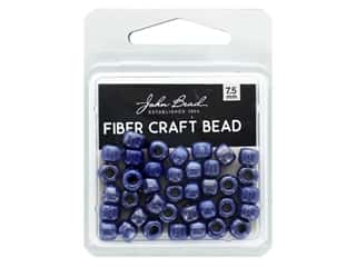 twine: John Bead Fiber Craft Beads 7.5 mm Opaque Dark Blue Luster